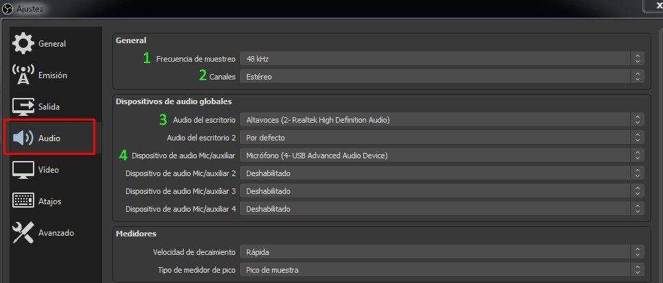 configurar audio OBS studio