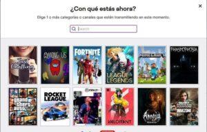 selección de intereses Twitch
