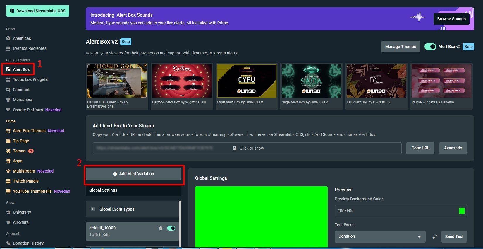 crear nueva alerta en Twitch