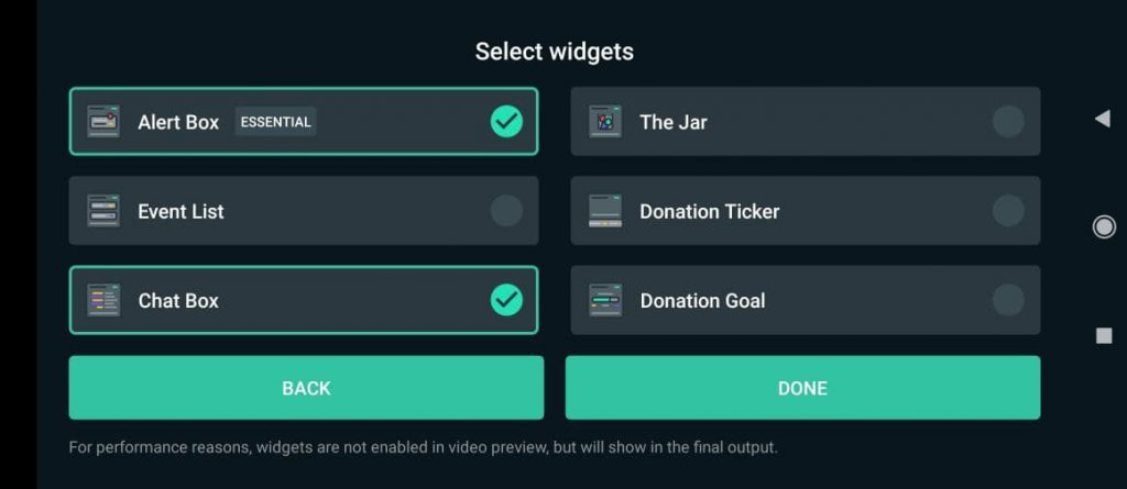 seleccionar widgets desde celular