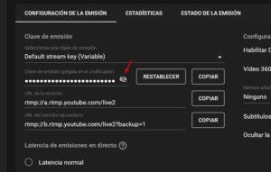 clave de emisión de youtube
