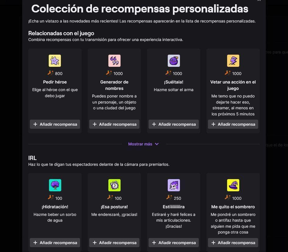 coleccion de recompensans en Twitch
