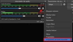 propiedades de audio avanzadas OBS studio