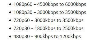 velocidades bitrate OBS