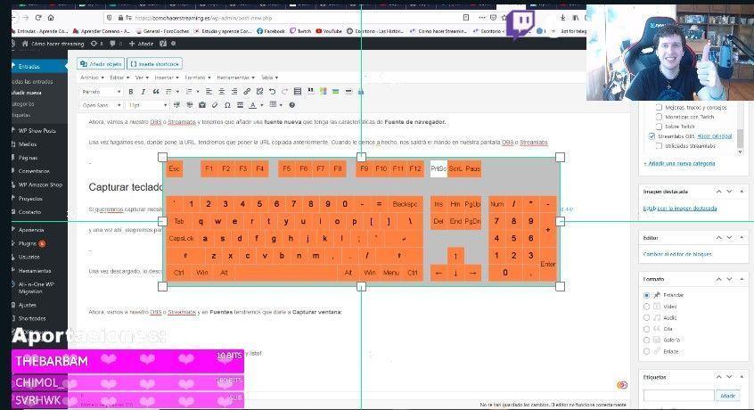 capturar teclado en OBS o Streamlabs