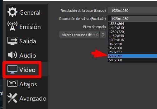 cambiar la resolución de la pantalla OBS studio