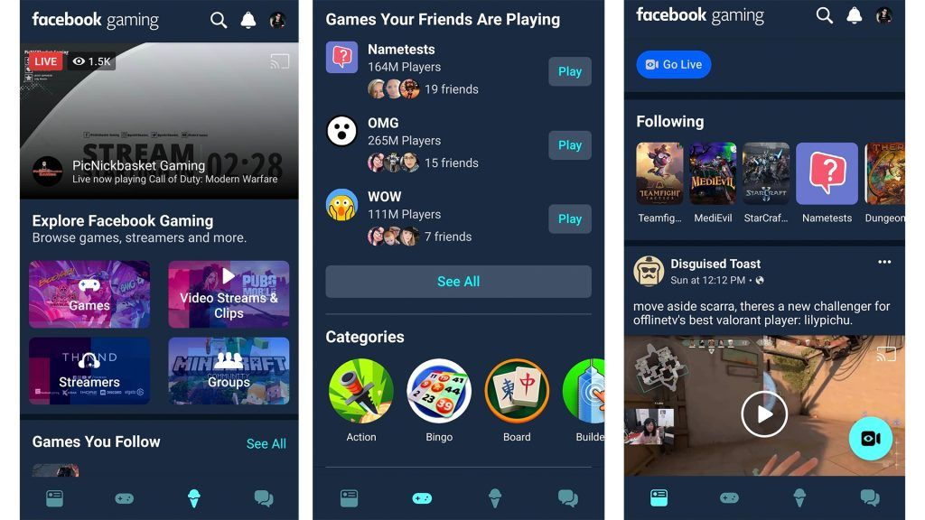 layout de facebook gaming